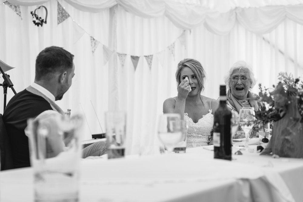 Bride crying during speeches - Powys Wedding Photography