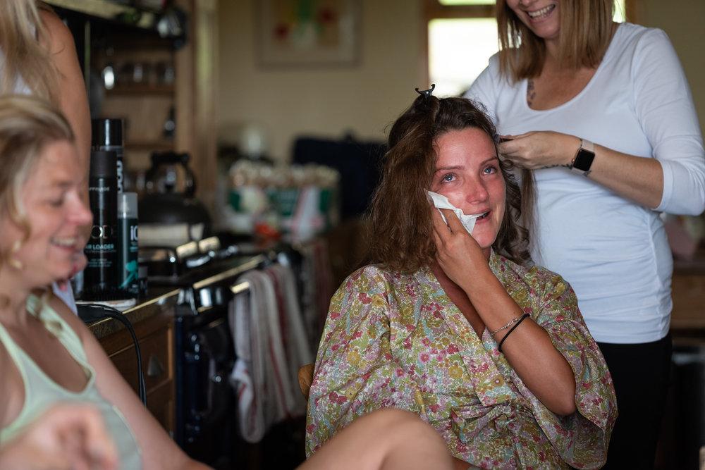Bridal preparation bridesmaid crying - Powys Wedding Photography