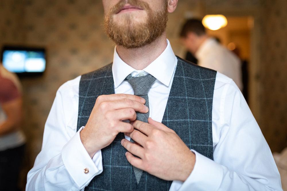 Groom preparation - Powys Wedding Photography