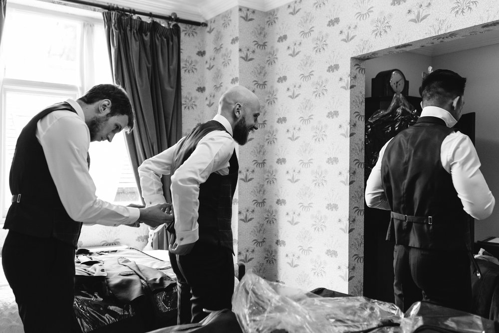 Groom and best men getting ready - Powys Wedding Photography