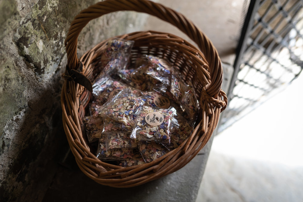 Basket of wedding confetti - Powys Wedding Photography