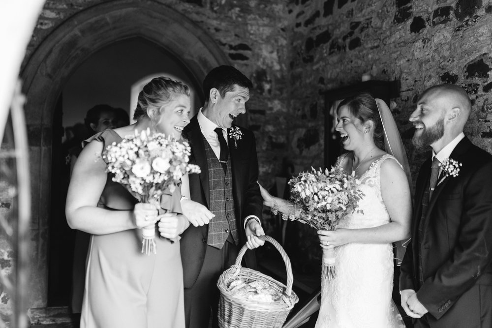 Guests and Bride & Groom after wedding - Powys Wedding Photography