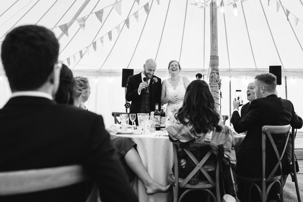 Bride & Groom wedding speech - Powys Wedding Photography