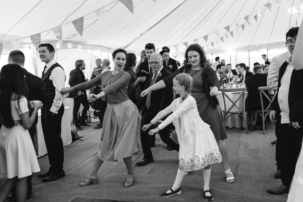 Wedding guests doing the Floss - Powys Wedding Photography