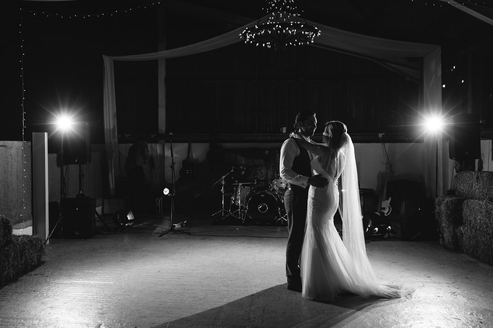 Hannah & Gareth's first dance at Sugar Loaf Barn.