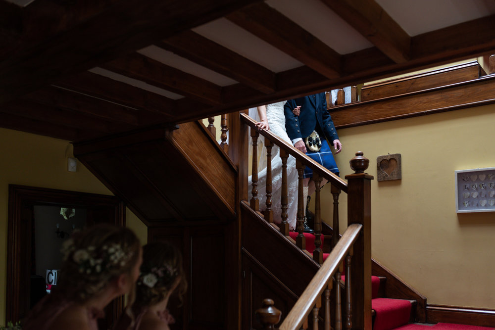 Steven Parry Photography / Bride & Father Walking Down Stairs