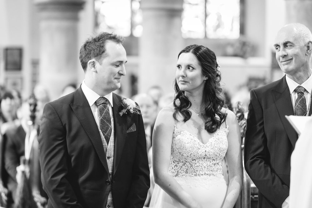 Steven Parry Photography / Bride Giving Groom 'The Look' at The Altar / Garthmyl Hall Wedding