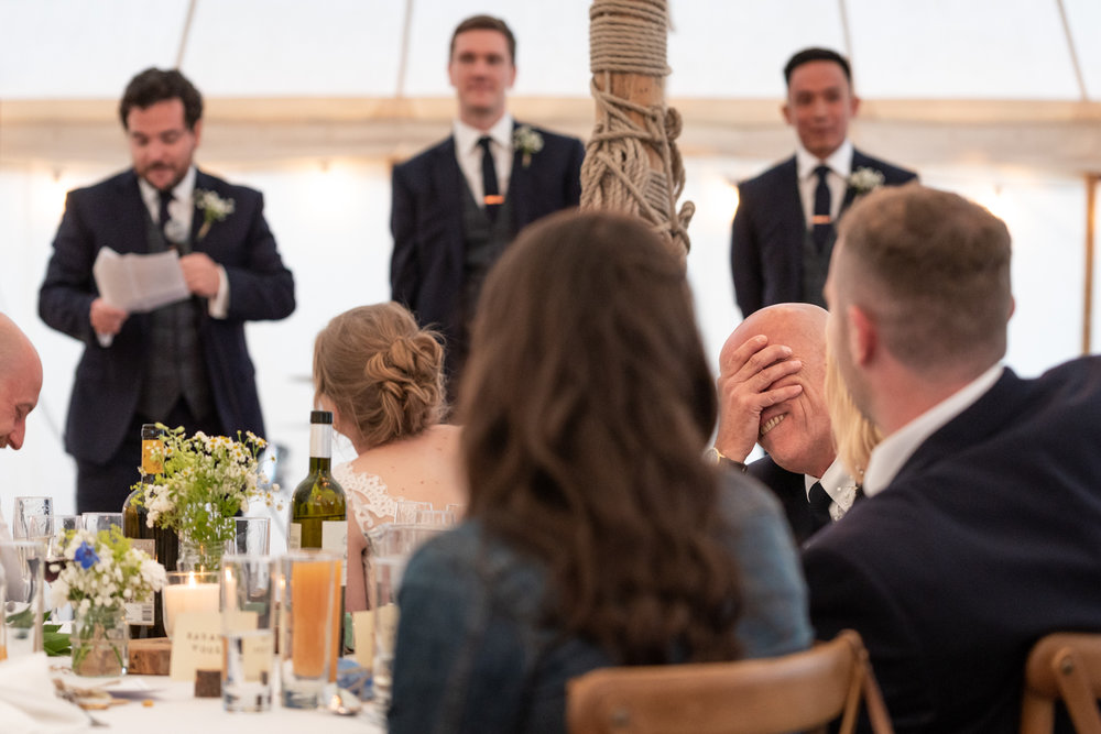 Steven Parry Photography / Wedding Speeches Father of Groom Head in Hands