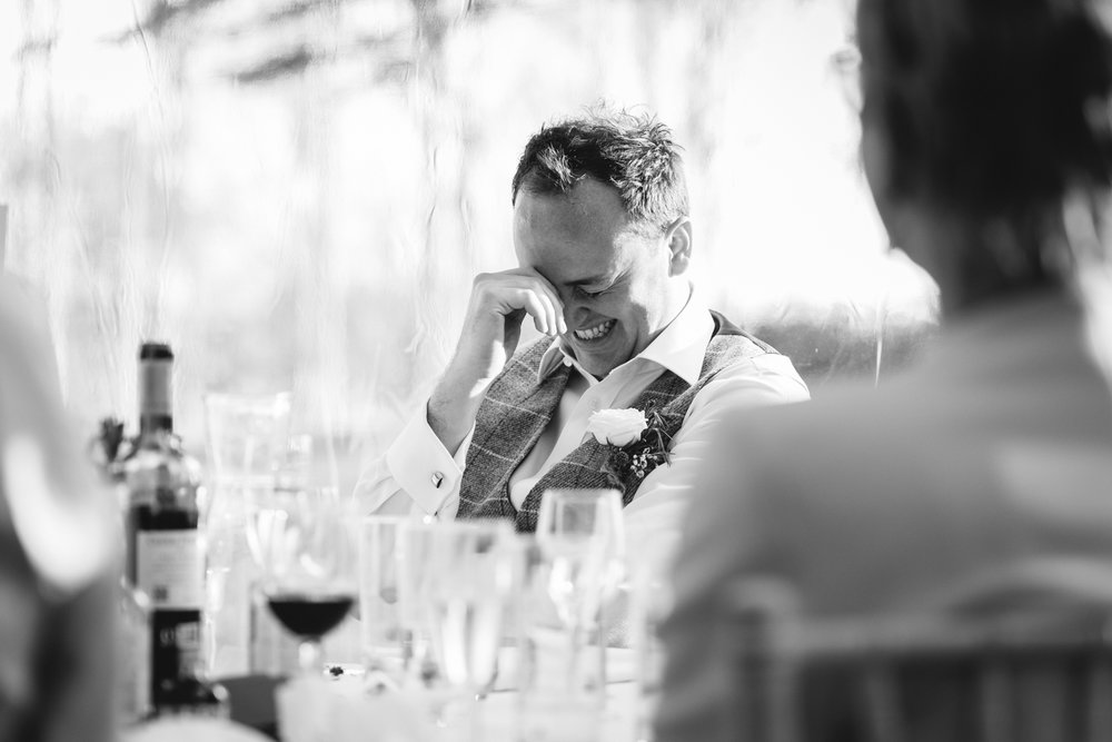 Steven Parry Photography / Groom Laughing During Wedding Speeches / Garthmyl Hall