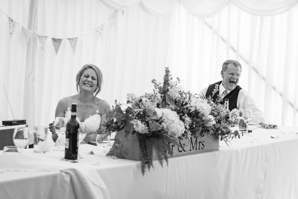 Steven Parry Photography / Bride & Father Laughing During Speeches
