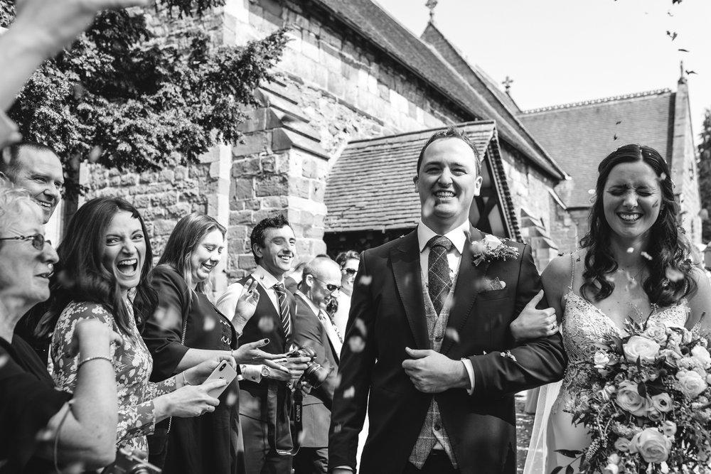 Steven Parry Photography / Bride & Groom Confetti / Garthmyl Hall