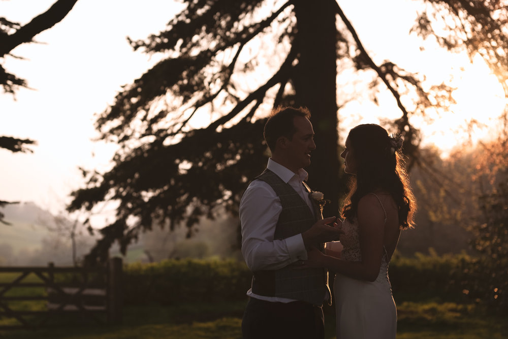 Steven Parry Photography / Bride & Groom Sunset / Garthmyl Hall