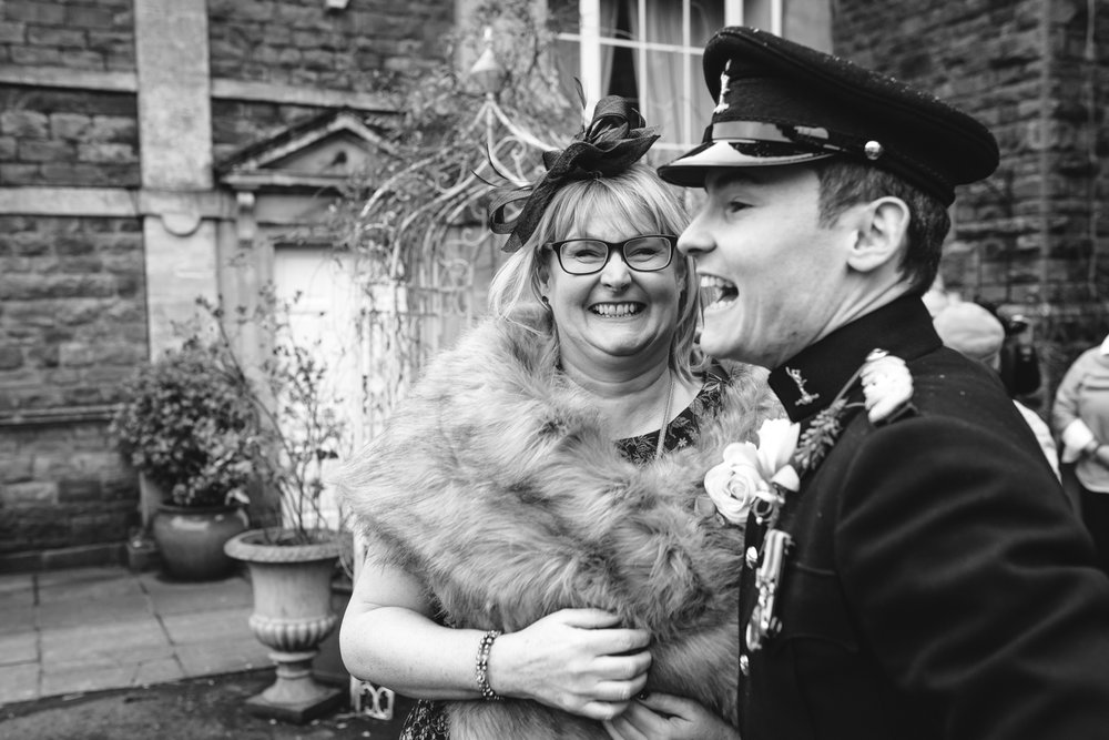 Steven Parry Photography / Groom & Mother Laughing at Wedding / Craig Y Nos Castle