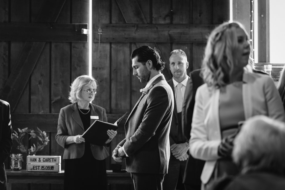 Steven Parry Photography / Groom Waiting for Bride to Arrive / Sugar Loaf Barn