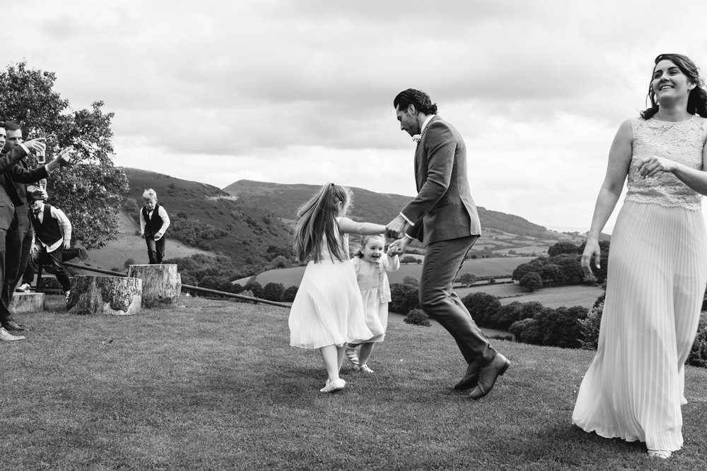 Steven Parry Photography / Groom Dancing with Children / Sugar Loaf Barn