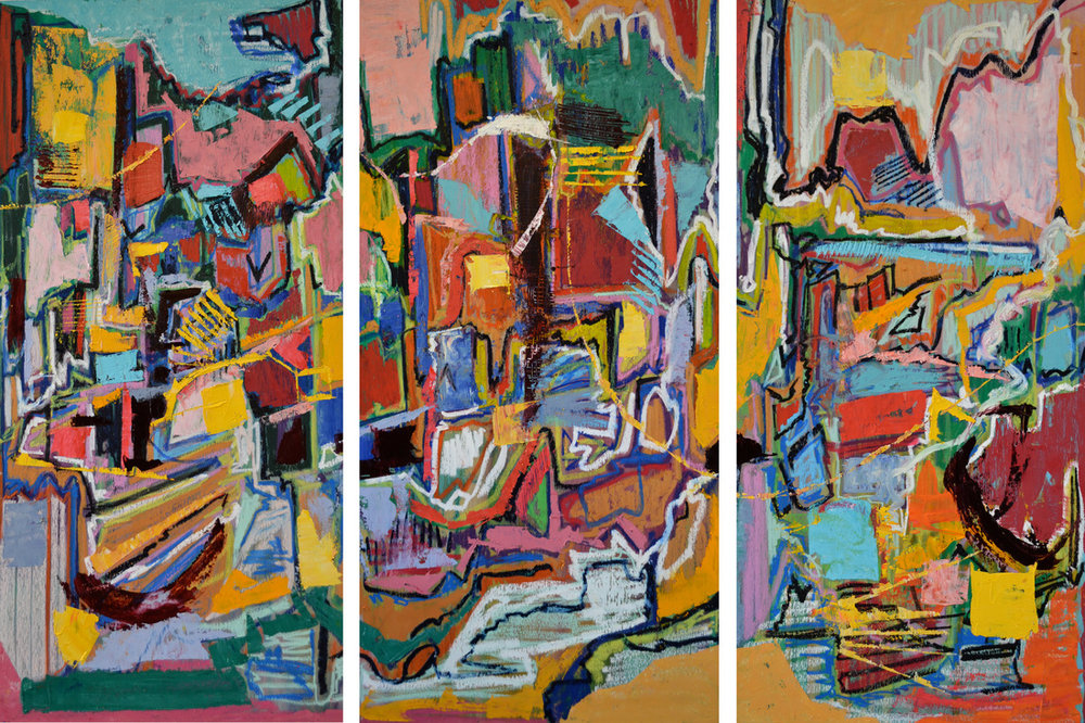 Ribbon Falls  Three panels; 48 x 72 inches.   Oil on Wood, 2014
