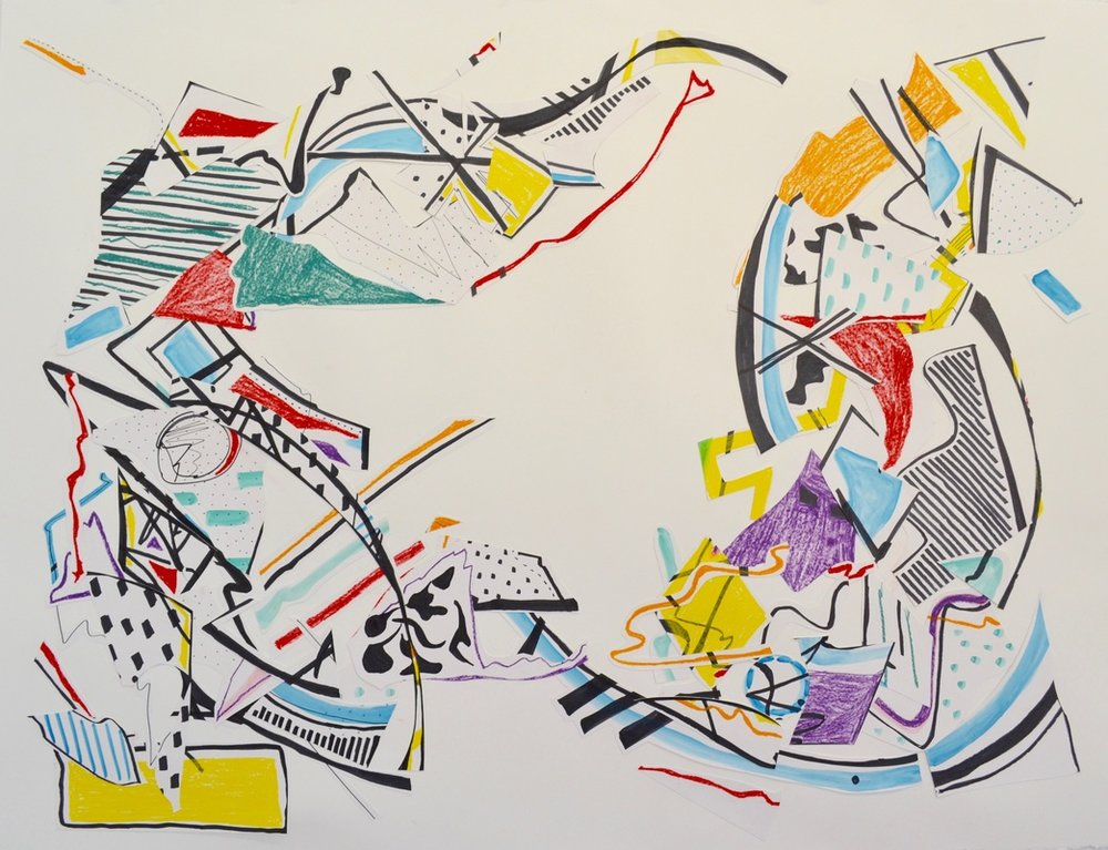 Residual Motion   50 x 38 inches. Pen, Watercolor, Water-Soluble Wax Crayon, Paper, 2015.