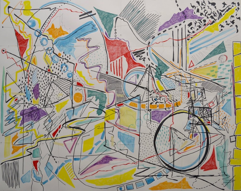 Untitled,  76 x 96 inches. Pen, Watercolor, Water-Soluble Wax Crayon, Paper, 2015.