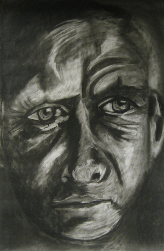 Untitled, 36 x 48 inches. Charcoal on paper, 2009.