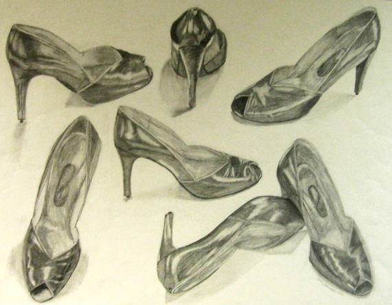 Shoe Study, 40 x 30 inches. Charcoal on paper, 2009.