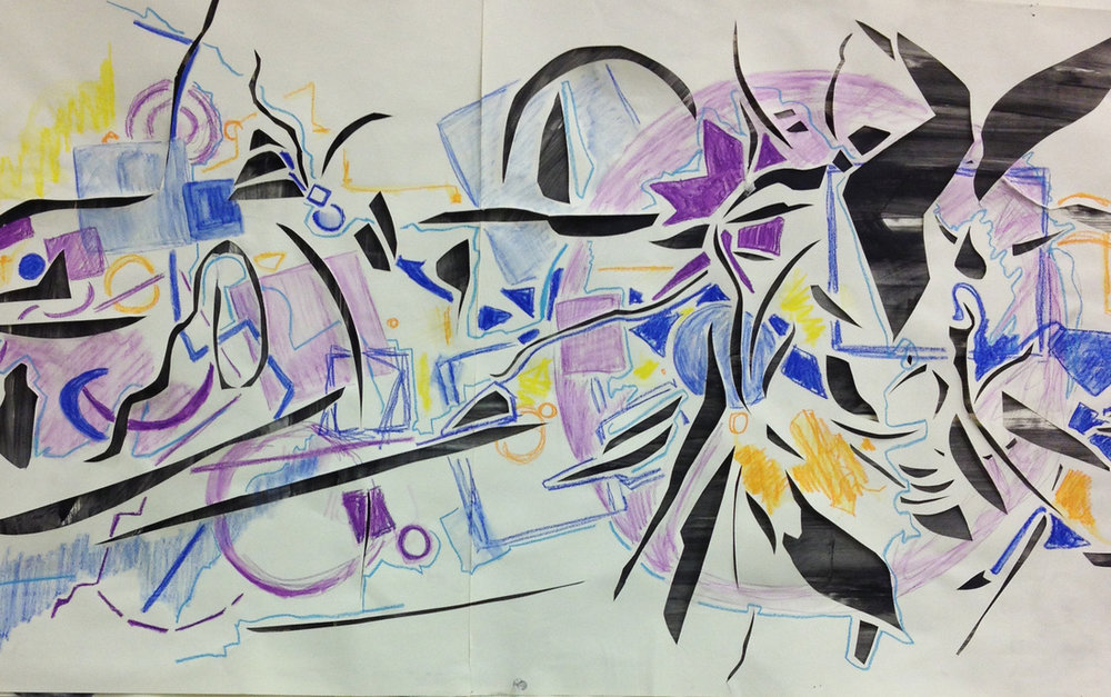 Crescents; 144 x 36 inches; Acrylic, Pen, and Water-Soluble Wax on paper; 2012