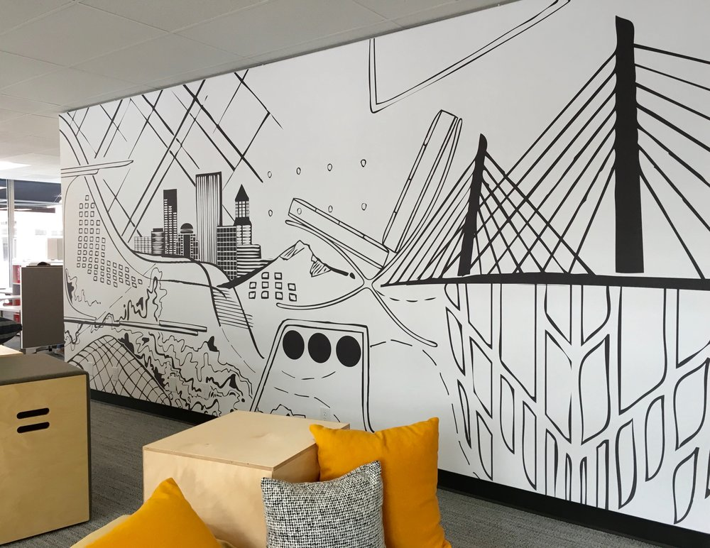 Mural, Printed on Vinyl 18' x 12'.  Environments, Portland, OR, 2017.