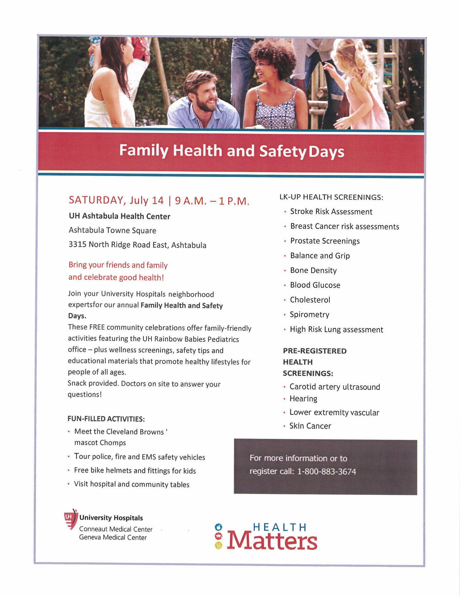 UH Ashtabula Health Center's Family Health and Safety Day