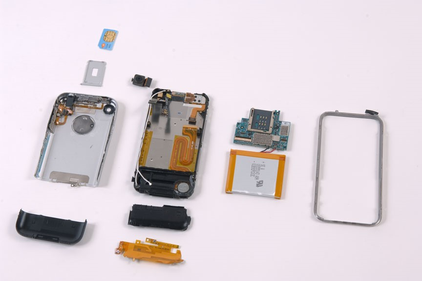 A teardown of the original iPhone, highlighting the interior's attention to detail and aesthetic value.