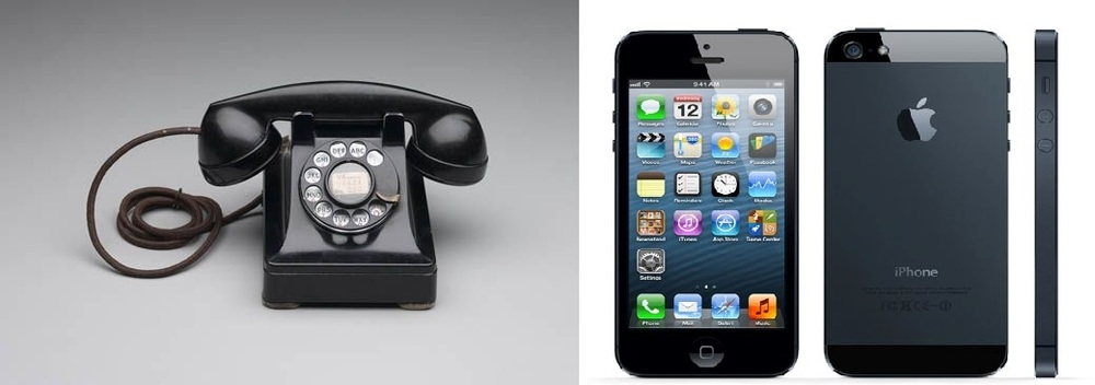 The Dreyfuss Model 3 telephone shown next to promotional photos of the Apple iPhone 5 .