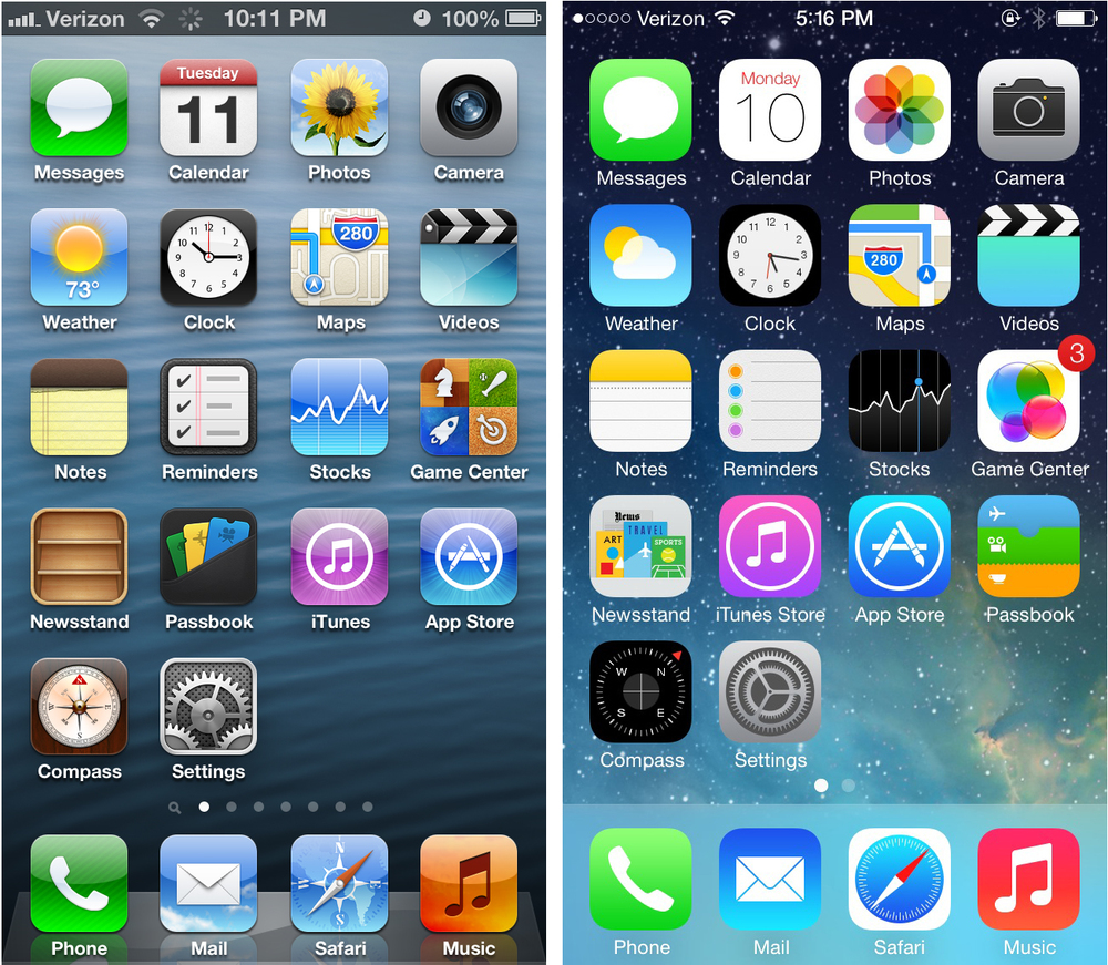 The old vs the new: iOS 6 (left) vs iOS 7 (right)