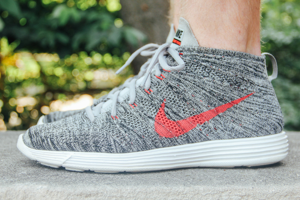 The Nike Lunar Flyknit Chukka in Wolf Grey/University Red (Lunar sole unit featured)