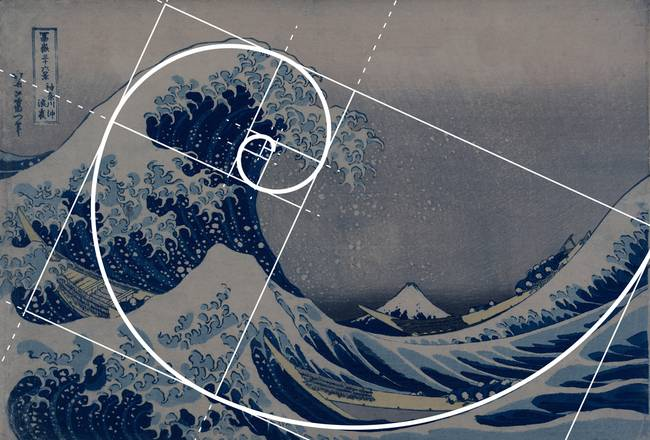 "Hokusai's ""Great Wave off Kanagawa"" with Golden Ratio overlay"