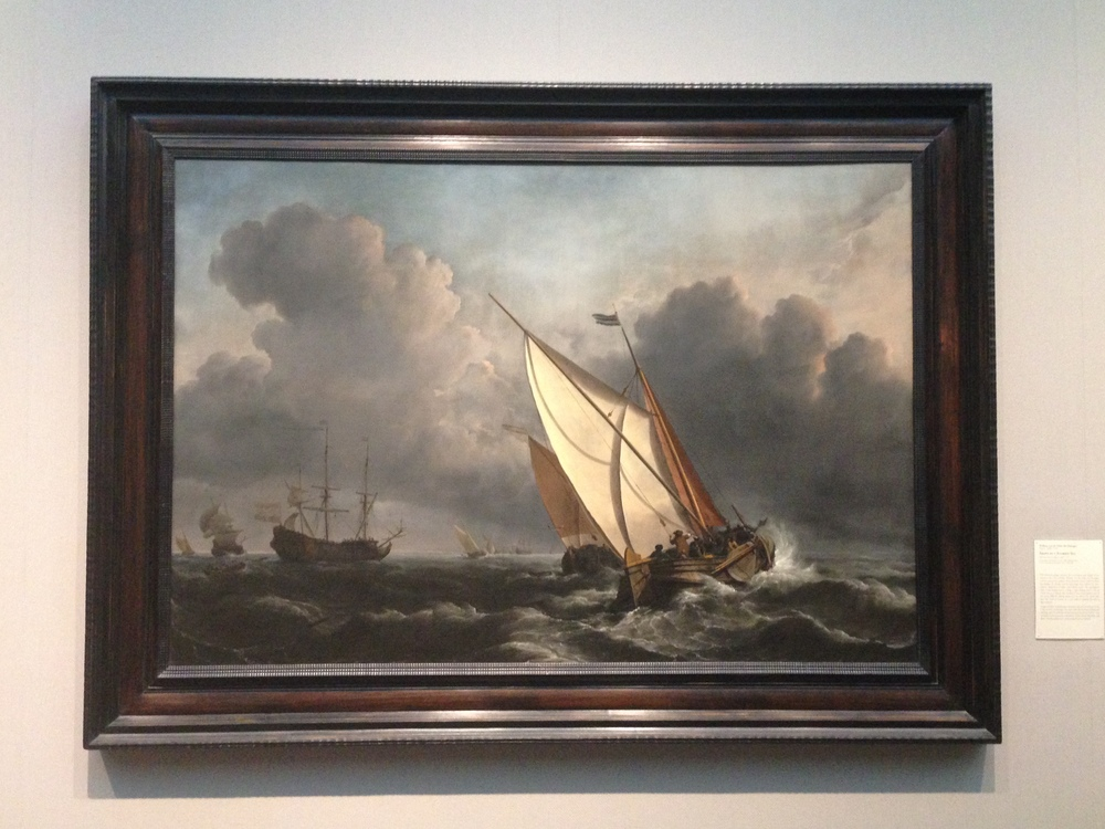 """Ships on a Stormy Sea"" (1672) by William van de Welde the Younger I'm a big fan of the Dutch Golden Age. Hyperrealistic detail, mastery of reflection, and a fascination with nature characterize many Dutch landscapes of this era. ""Ships"" is no exception: I felt simultaneously awed by the might of the sea and emotionally connected with the struggles of the boaters battling it. More information about William van de Welde the Younger here."