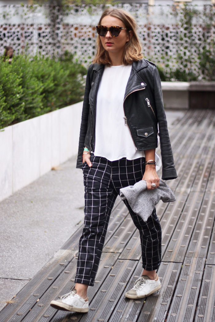 A typical example of modern street style: Mango jacket, Zara top, H&M pants, Golden Goose sneakers (source)