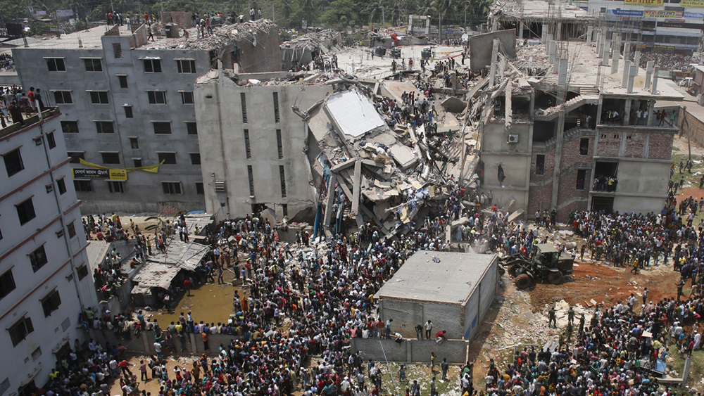 The 2013 Dhaka factory collapse. 96 garment workers were killed when the factory, which supplied fast-fashion chain Primark, fell under its own weight (photo: Channel 4)