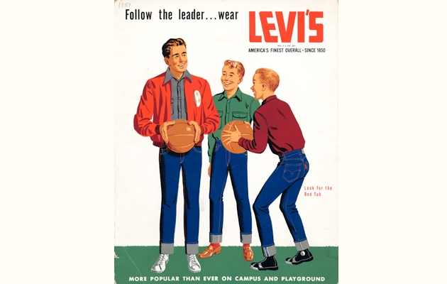 A vintage Levi's ad from 1951 displaying such modern trends as cuffed indigo selvedge jeans, coaches jackets, and white high-top sneakers.