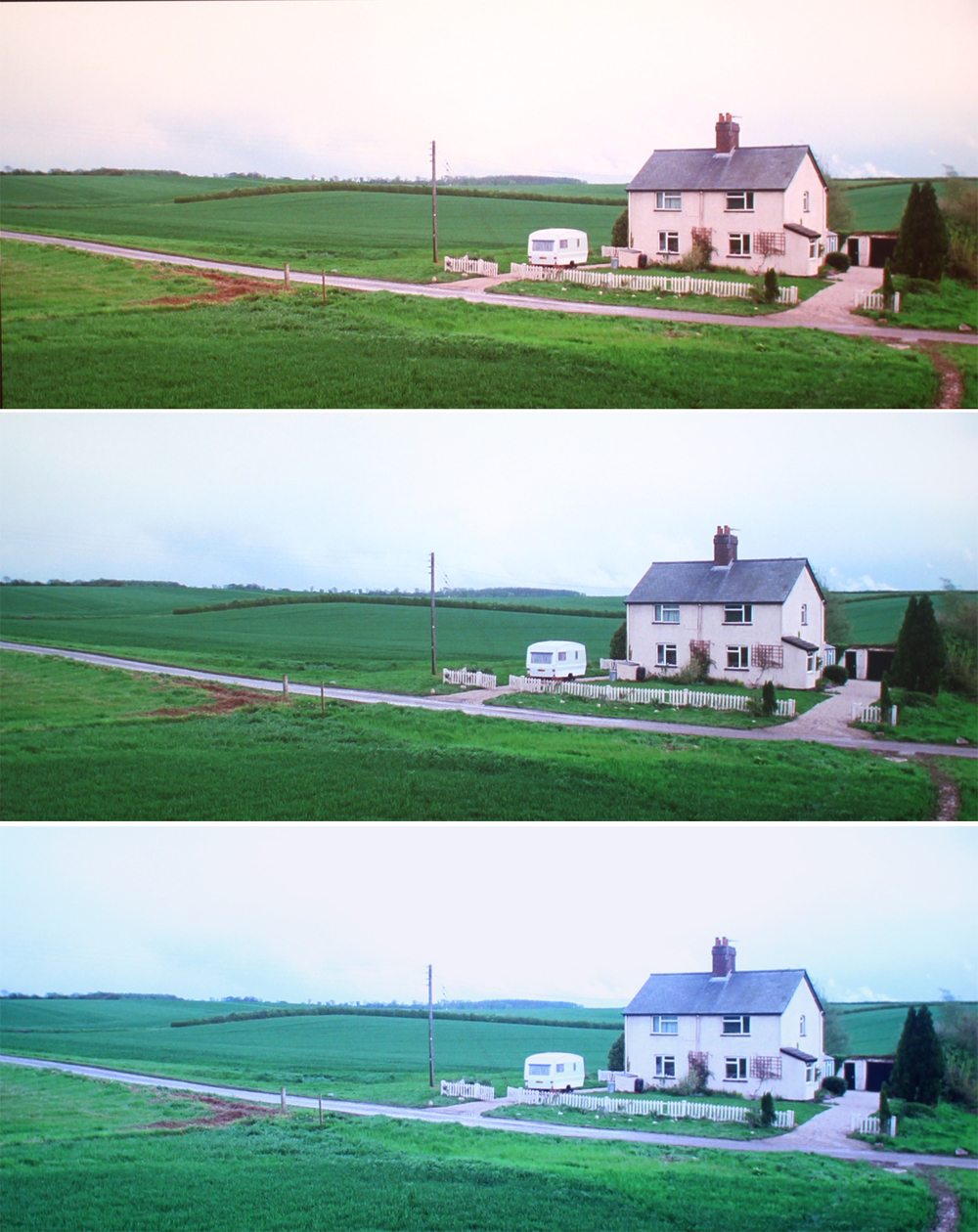 The same image of a house, with temperature adjusted from warmest (top) to coolest (bottom).