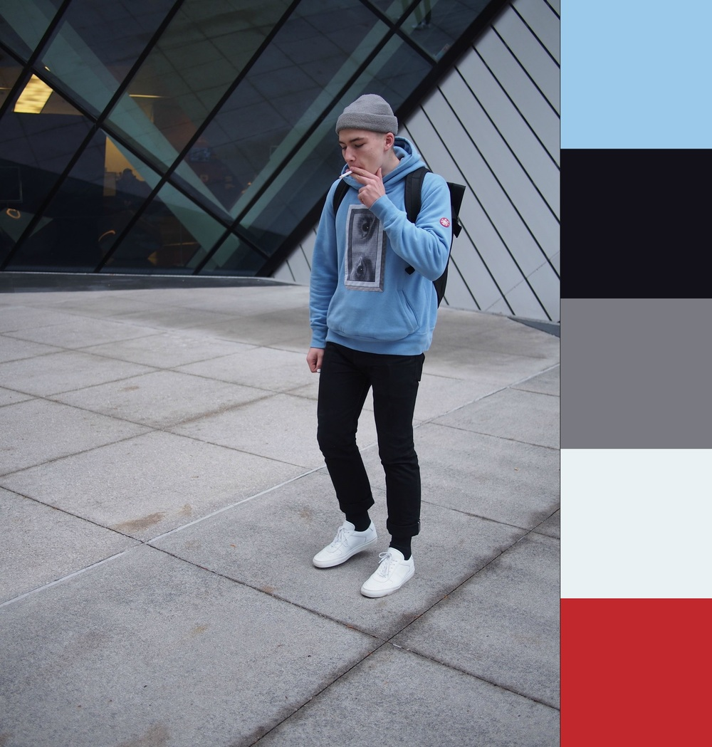 The master's course in building an unconventional color palette. Keep the majority simple (black, white, grey monochrome bounds), introduce a pop of color that's still related to the boundaries (ex. lower saturation pale blue), then add a related color to finish it off. This picture is the reason I almost spent $400 on an Icon sweatshirt. On a related note: WTB used Icon sweatshirt in US Large.