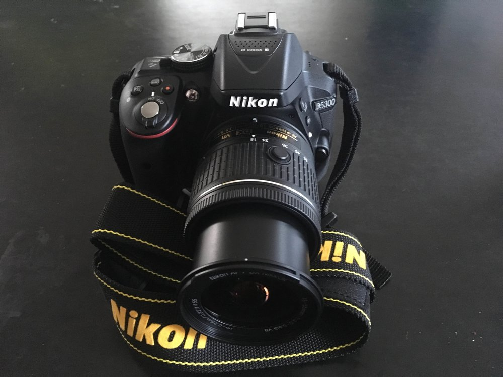 My new baby: a Nikon D5300 w/ 18-55mm lens.