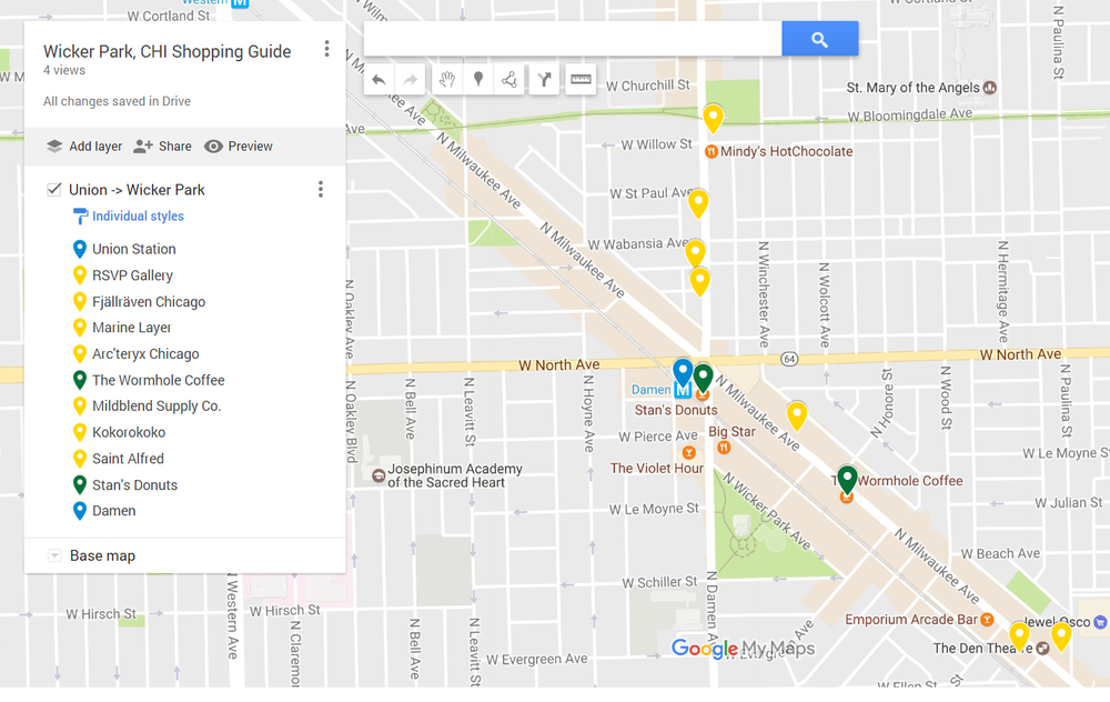 My custom Google My Map shopping guide (link)