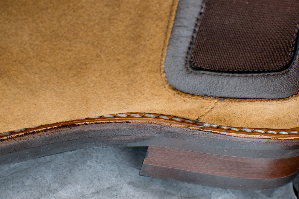 Another boon to longevity: those stitches you see above are locked into a leather Goodyear welt,  meaning water resistance and easy resoling .