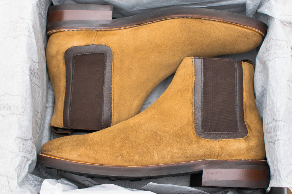"""c94c280314 The honey suede is a deep, golden orange, and retains its supple hand-feel  despite Thursday's """"WeatherSafe"""" treating. It's my understanding that  WeatherSafe ..."""