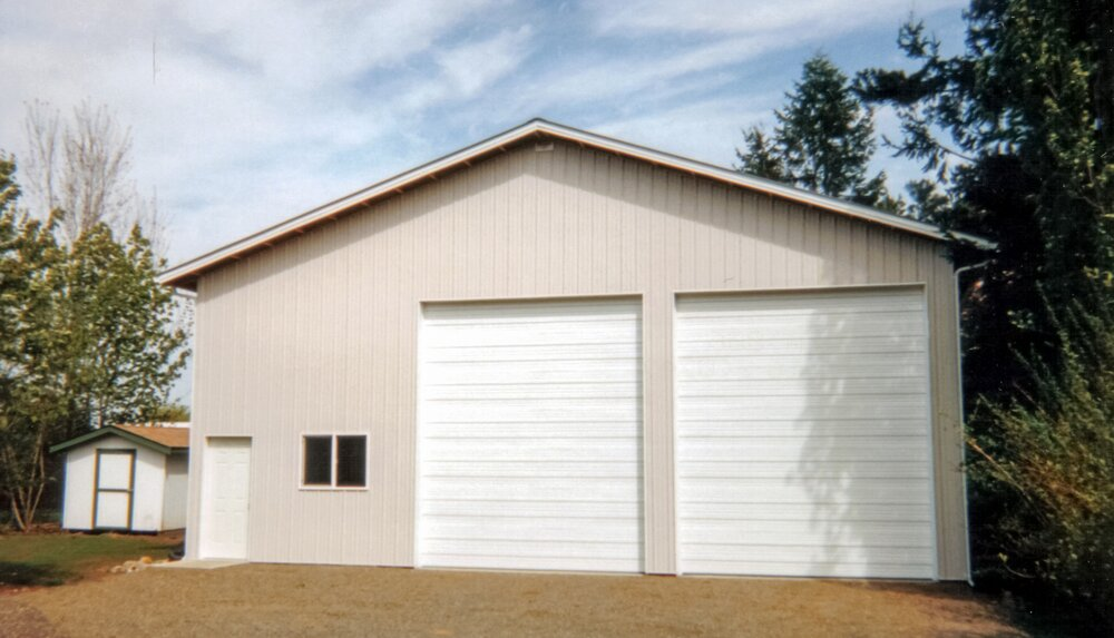 "40' x 48' x 16'-6"" RV Storage Texmo Pole Building by Alvord-Richardson Construction.     Shop #3   Serving Whatcom, Skagit, San Juan and Island Counties since 1965.  Give us a call for your free estimate today!"