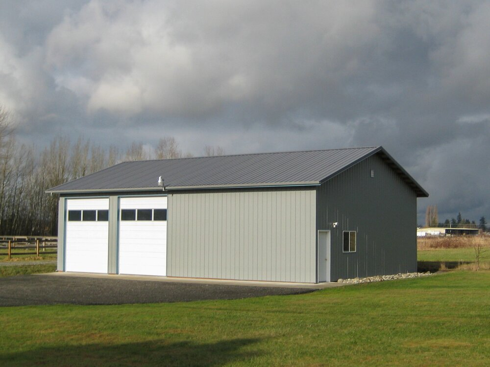 34' x 48' x 14' Shop Skagit County   Shop #5   Texmo Pole Building by Alvord-Richardson Construction.  Serving Whatcom, Skagit, San Juan and Island Counties since 1965.  Give us a call for your free estimate today!