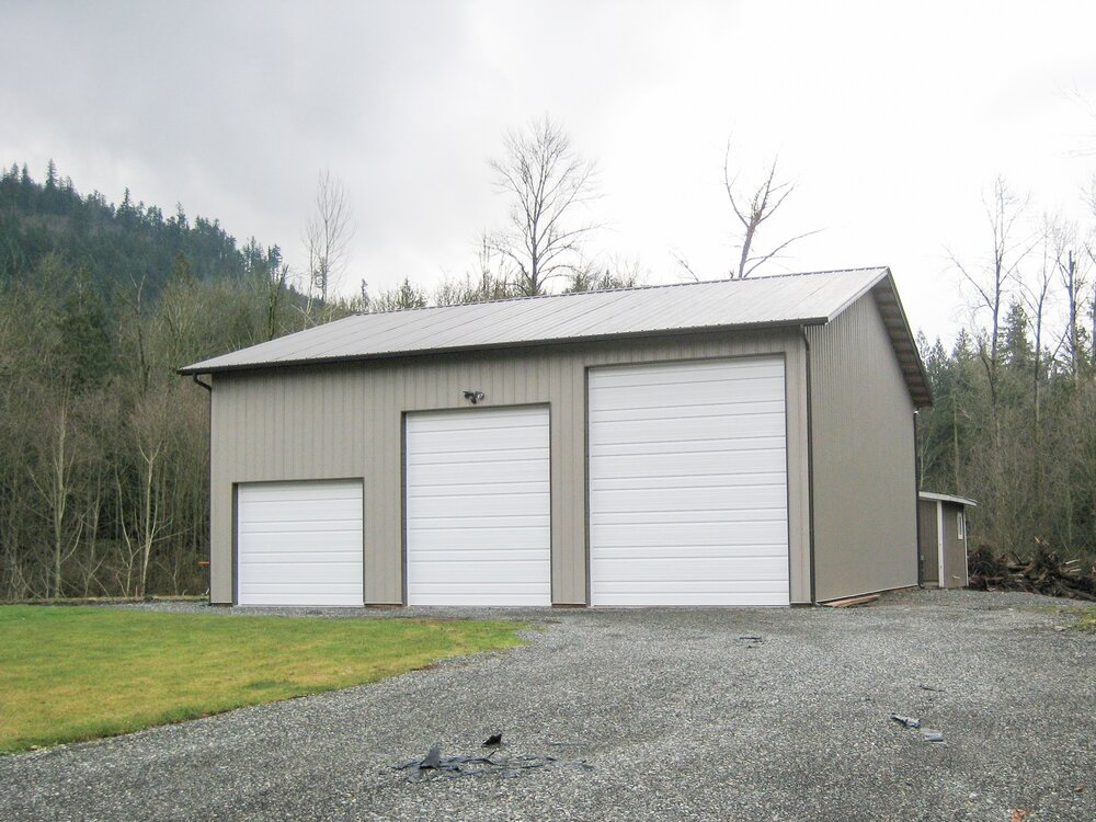 "40' x 40' x 16'-4"" Shop    Shop #10  Texmo Pole Building by Alvord-Richardson Construction.  Serving Whatcom, Skagit, San Juan and Island Counties since 1965.  Give us a call for your free estimate today!"