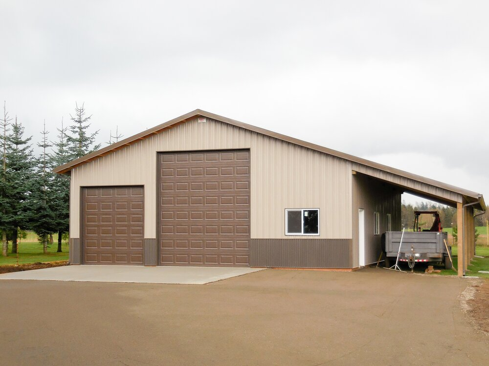 36' x 46' x 13' with 46' x 12' lean to in Whatcom County  Shop #17  Texmo Pole Building by Alvord-Richardson Construction.  Serving Whatcom, Skagit, San Juan and Island Counties since 1965.  Give us a call for your free estimate today!