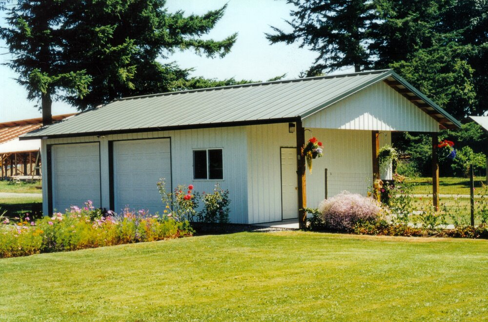 24' x 36' x 10' Garage with Porch Roof  Shop #20  Texmo Pole Building by Alvord-Richardson Construction.  Serving Whatcom, Skagit, San Juan and Island Counties since 1965.  Give us a call for your free estimate today!