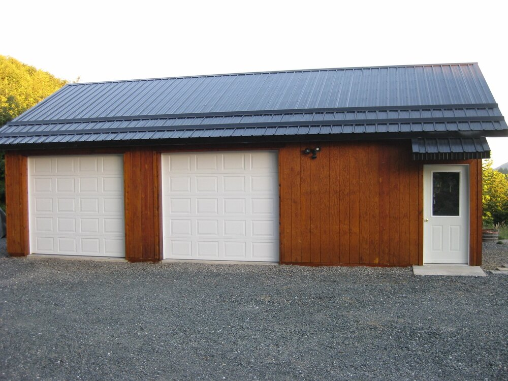 24' x 36' 2 car Garage Skagit County  Garage #21  Texmo Pole Building by Alvord-Richardson Construction.  Serving Whatcom, Skagit, San Juan and Island Counties since 1965.  Give us a call for your free estimate today!