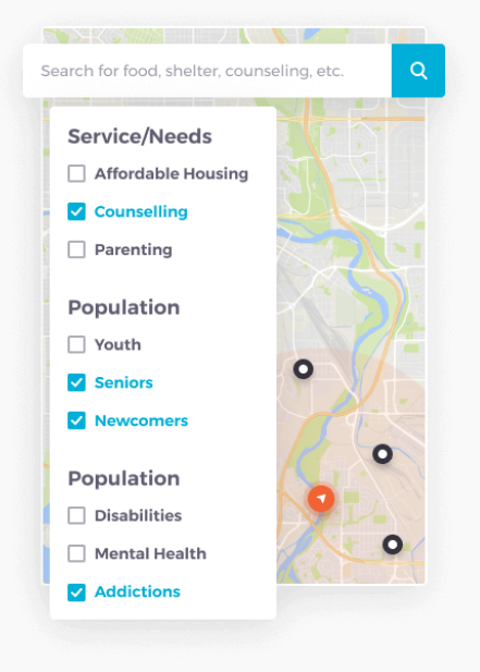 A screenshot of the HelpSeeker mobile interface (the platform has a mobile and desktop-friendly version).