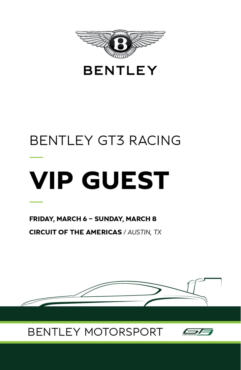 EVENT - Team Bentley Hospitality  CLIENT - Bentley Motor Cars  Hospitality management at two Pirelli World Challenge events in Austin, Texas and St. Petersburg, Florida